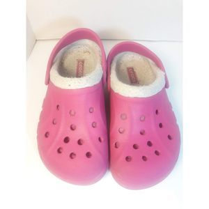 Crocs Pink Fuzzy Shoes Girls Size 13